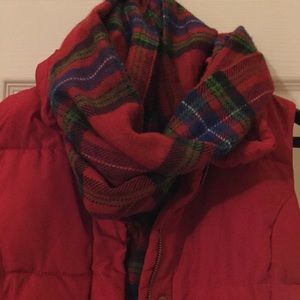 Hollister Red and Plaid Scarf